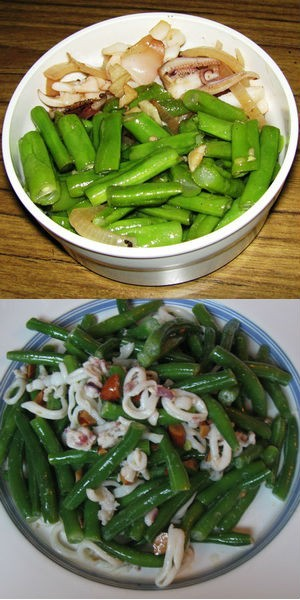 Салат из стручковой фасоли с кальмарами