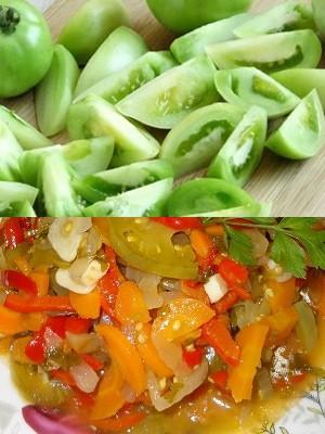 Салат из зеленых помидоров с морковью