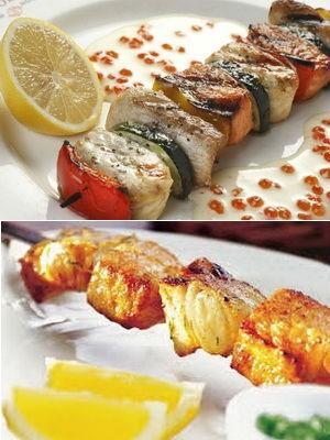 рыбный шашлык с лимоном