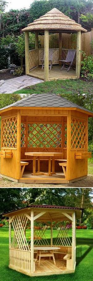деревянная беседка на даче