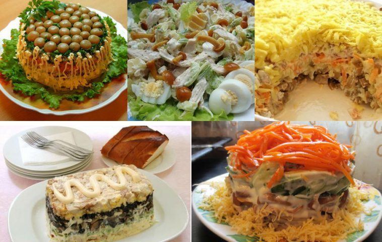 салаты с грибами и курицей