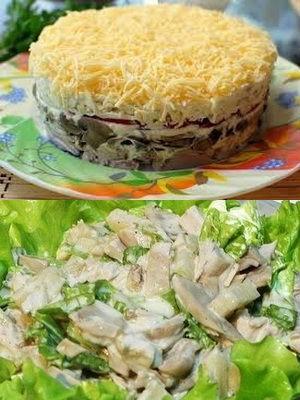 салаты с курицей и грибами