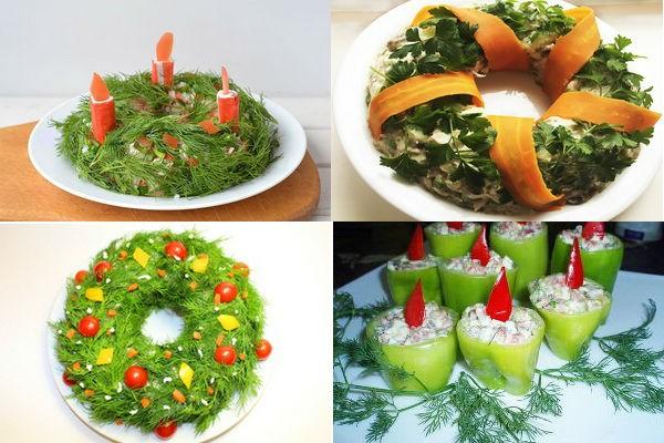 варианты подачи салатов к рождественскому столу