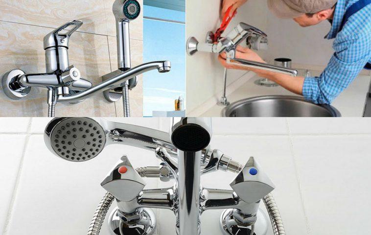 как установить смеситель в ванной своими руками
