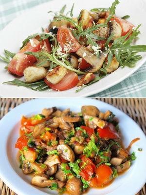 с грибами, помидорами и печеной картошкой