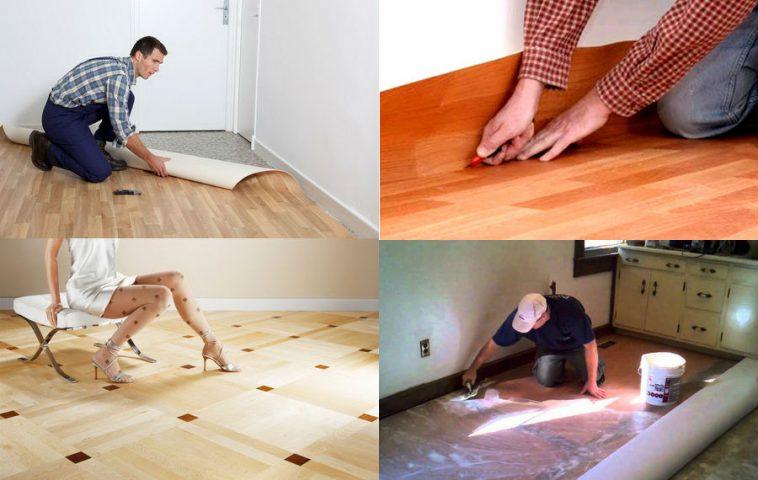 как правильно уложить линолеум в квартире своими руками