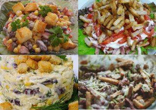 салаты с сухариками и фасолью