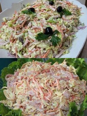 """Аленушкин"" салат с капустой и колбасой"
