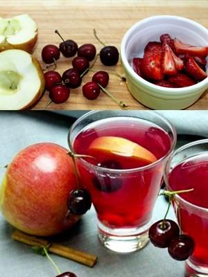 компот из клубники и черешни с яблоками