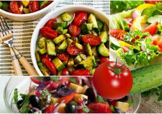 салаты с помидорами и огурцами