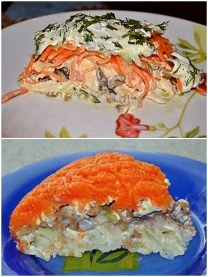 слоеный салат с лисичками