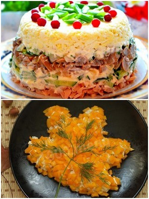 как украсить салат из лисичек