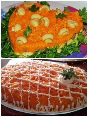 праздничный постный салат, слоеный