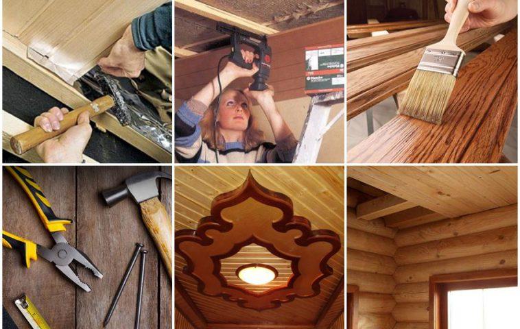 ремонт деревянного потолка своими руками