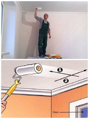 побелка или покраска потолка своими руками