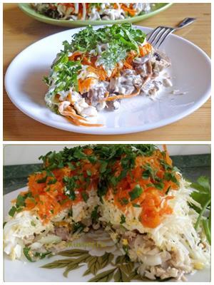 мясной салат с корейской морковью