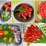 """закуска """"Тюльпаны"""" из помидоров, фаршированных салатом"""