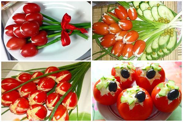 фаршированные помидоры в форме тюльпанов