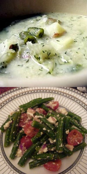 Салад из сельзи с зеленой фасолью