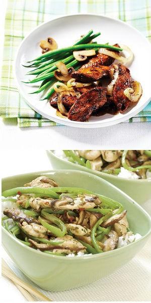 Салат из зеленой фасоли с курицей и грибами