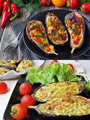 Фаршированные кабачки с овощами