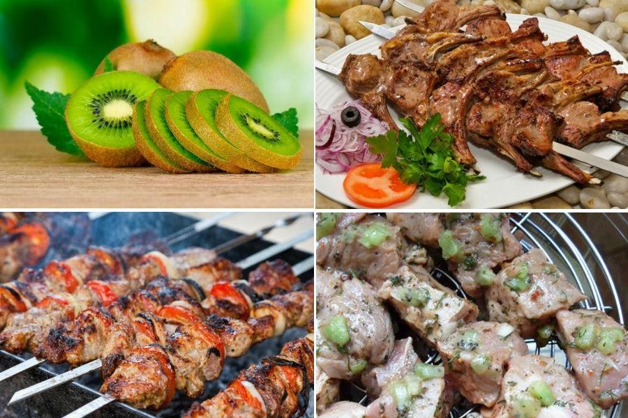 Быстрый маринад для шашлыка с киви для разных видов мяса: 4 рецепта
