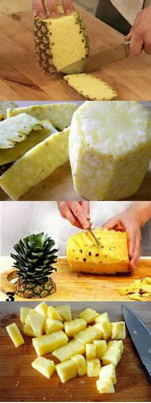 как разрезать ананас правильно