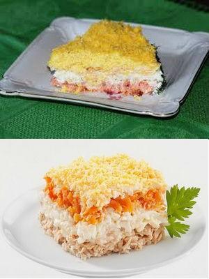 Салат «Мимоза» из рыбных консервов: классический рецепт, его вариации