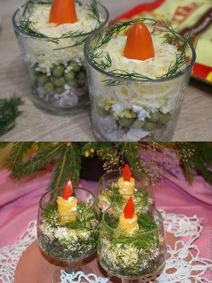 """салат """"Свечи"""" в бокалах"""