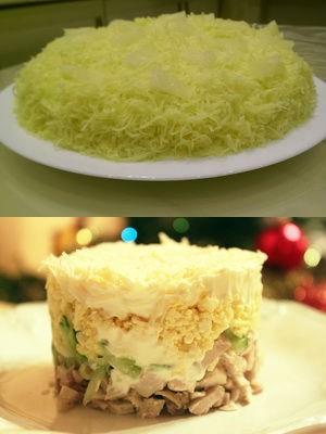 слоеный салат с курицей и ананасами