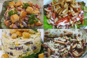 Салаты с сухариками и фасолью: 12 рецептов, которые вас удивят