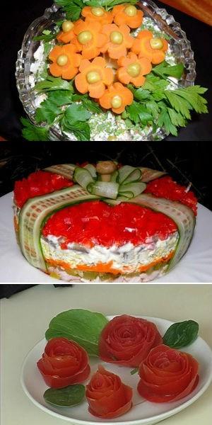 как украсить именинный салат