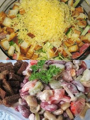 как приготовить фасолевый салат с сухариками
