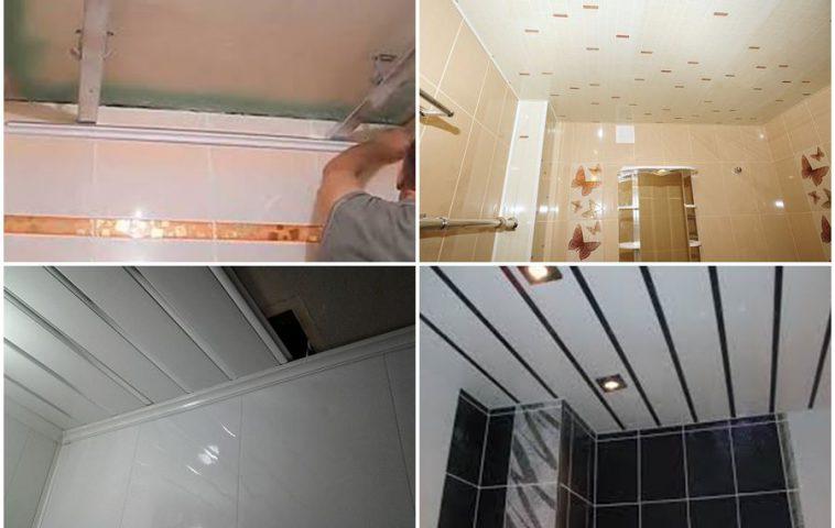 ремонт потолка ванной комнаты пластиковыми панелями