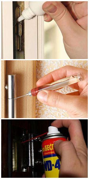 как смазать дверь