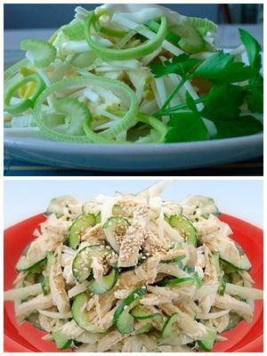 сельдерейный салат с огурцами и куриной грудкой