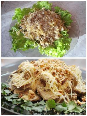 теплый салат из языка с сыром и орехами
