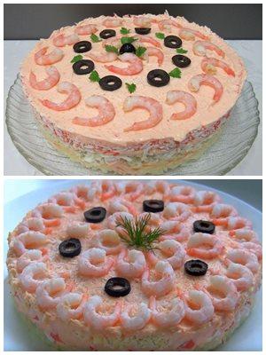 розовый салат из икры минтая
