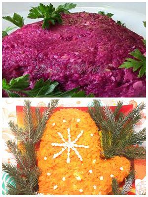 овощной салат в форме варежки Деда Мороза