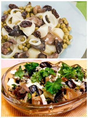 красивый салат с грибами