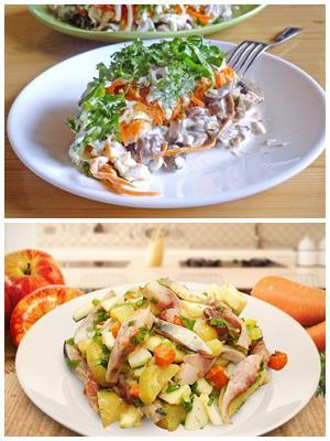 картофельный салат с селедкой и грибами