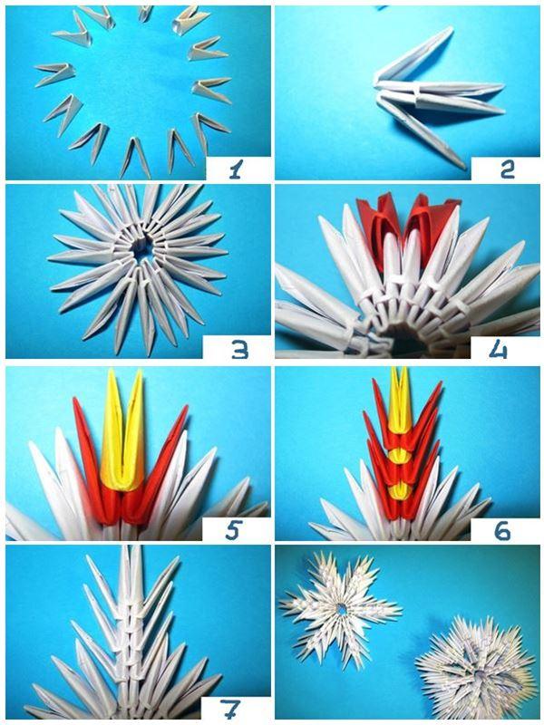 техника изготовления снежинки из модулей оригами