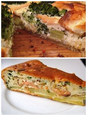 заливной пирог с семгой и брокколи
