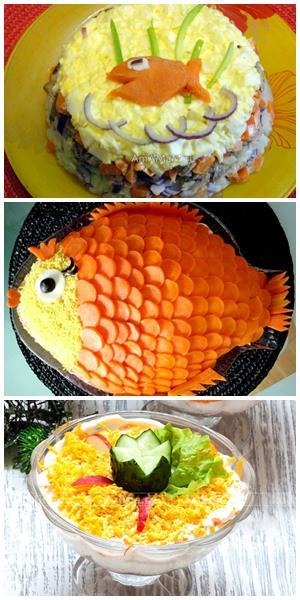 как украсить рыбный салат