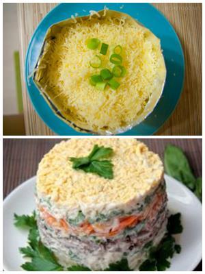 слоеный салат с зубаткой холодного копчения
