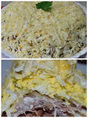 салат для мужчин из говядины с маринованным луком и сыром