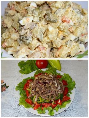 салат с мясными субпродуктами
