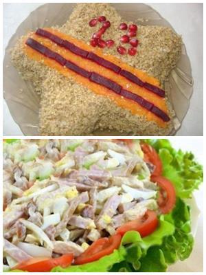 как украсить салат к мужскому празднику