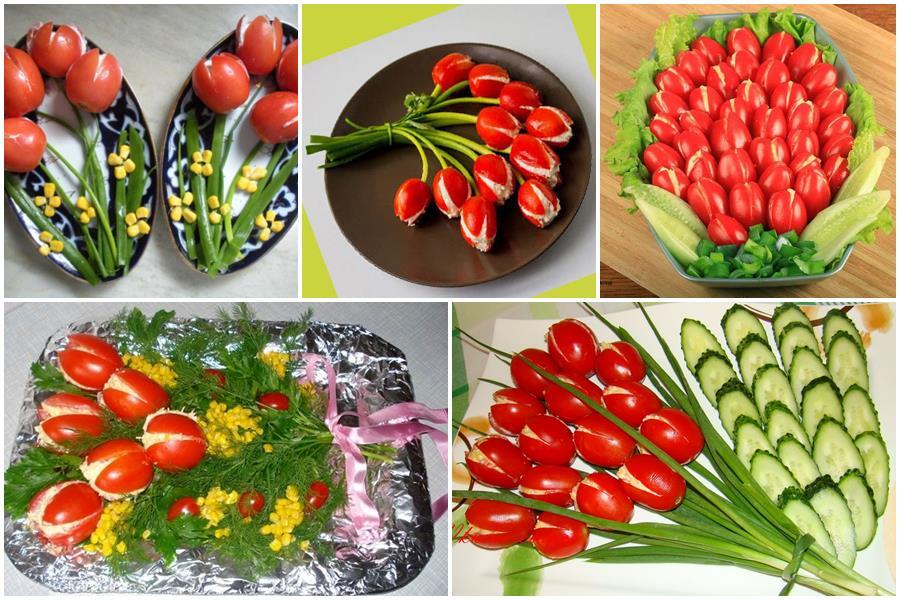 Закуска «Тюльпаны» из помидоров, фаршированных салатом: 9 рецептов