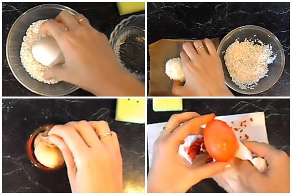 окрашивание яиц под мрамор с помощью риса